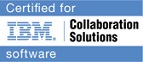 Logo der Firma I B M mit dem Text Certified for I B M Collaboration Solutions Software